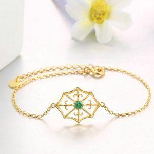 Jewelry - Natural green emerald yellow gone tone bracelet